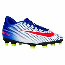 NIKE Womens Mercurial Vortex III FG White Soccer Cleats Shoes Blue Volt