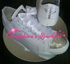 Bridal Bling Customised Crystal Mono All White Converse 3 4 5 6 7 8 9