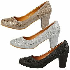 Amy Womens Mid Block Heels Diamante Shimmer Court Shoes Ladies Pumps Party Size