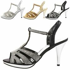 Kelis Womens Mid High Heels Peep Toe T Bar Ladies Diamante Sandals Shoes Size