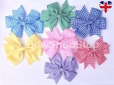 Gingham Ribbon School Hair Bow Elastic Bobble Hair Clip Girl