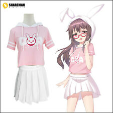 Game Overwatch D.Va T-shirt Cute Shirt Cotton Cosplay Costume DVA Long Ear Tee