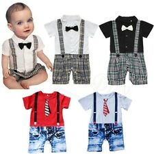 0-18M Baby Boys Short Sleeve Bow Tie Bodysuit Romper Jumpsuit Bodysuit Outfits