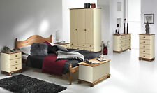 Cream Pine Painted Bedroom Furniture Wardrobe Drawers Bedside Bed - Argos Style