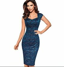 Womens Sexy Elegant Summer Lace Cap Sleeve Casual Party Fitted Sheath Dress