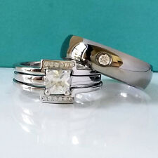 His and Hers 925 Sterling Silver Princess Cut CZ Wedding Ring Set Titanium Band