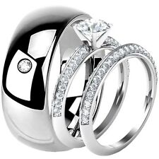 His Hers Sterling Silver Engagement Round Cut CZ Wedding Ring Set Tungsten Band