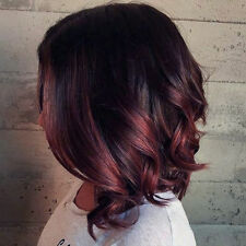 Short Wavy Lace Front Wig Color 1B Fading to 99J Red Wine Balayage Ombre Color