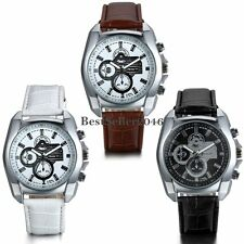 Military Classic Mens Round Dial Leather Strap Sports Analog Quartz Wrist Watch