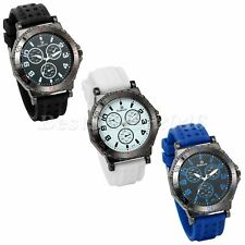 Mens Fashion Casual Big Dial Silicone Band Sports Analog Quartz Wrist Watch Gift