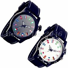 Fashion Charm Flag Pattern Silicone Band Mens Womens Quartz Analog Wrist Watch