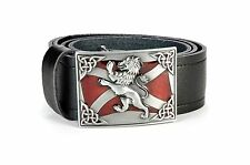 Rampant Lion Saltire Leather Kilt Belt and Buckle MG3 Antique + Red