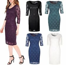Womens Knee Length Lace Dress Midi Layered Half Sleeve Formal Evening Party