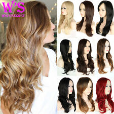 Glueless Synthetic Hair Wigs Long Curly Wave Straight Ombre Color Full Wig UK ht