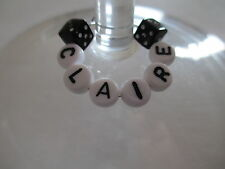 1 6 12 or 25 Personalised Wine Glass Charms - Black Dice - Hen / Party Favours