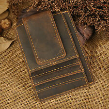 Men Genuine Leather Cowhide Money Clip Card Case Holder Slim Wallet Front Pocket