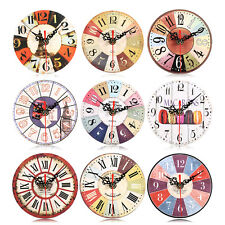 Elegant Creative Wooden Round Wall Clock Home Office  Antique European Style