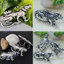 1X Mens Womens Cool Adjustable Clear/Grey Crystal Leopard Double Finger Ring