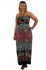 Coral Animal & Butterfly Print Bandeau Maxi Dress 18  30/32