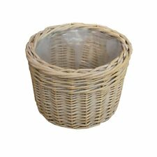 Provence Round Wicker Basket Plant Pot White Wash Willow Lined Small Large