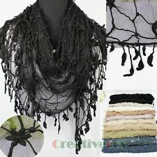 Fashion Women's Lace Floral Net Mantilla Triangle Scarf Shawl Wrap Trim Tassel