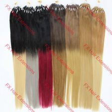 "16-26""Easy Loop Micro Rings Ombre Hair Remy Human Hair Extensions Straight 100s"