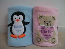 PERSONALISED BABY NAME BIRTH BLANKET GIFT CHRISTENING FLEECE EMBROIDERED