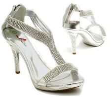 WOMENS STILETTO HIGH HEEL DIAMANTE STRAPPY LADIES PARTY BRIDAL SANDALS SHOES SIZ