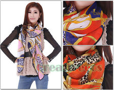Fashion Womens Classic Chiffon Kerchief Leopard Chain Print Colorful Scarf Shawl