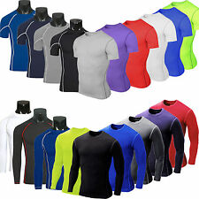 Mens Compression Base Layer Body Armour Thermal Under Skin T-Shirt Gym Wear Tops