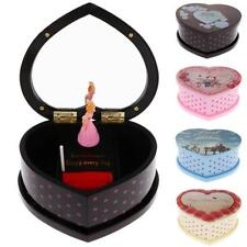 Musical Jewelry Mirror Box Heart-shaped Music Box With Dancing Lovely Girl