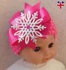 Headband Hot Pink Bow with Sparkling Silver Snowflake Hair Bow Christmas