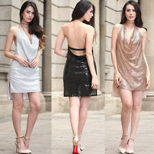 Sexy Women Metal Sequins Halter Short Mini Dress Evening Party Cocktail Clubwear