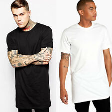Mens Stylish Casual Extended Long Hip-Hop Short Sleeve Summer T-shirt Streetwear