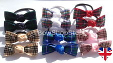 Pair of Tartan Ribbon School Hair Bow Elastic Bobbles Hair Clip Girl Christmas