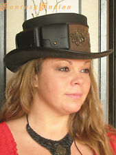 Steampunk Hat Octopus Traveller Industrial Gears Leather Top Hat Pockets 2 Tones