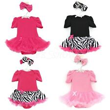 Newborn Baby Girls Tutu Dress Romper Outfit Headband Set Summer Party Clothes
