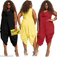 Sexy Plus Size Women's Solid Wide Leg Jumpsuit Pant Suit Sleeveless