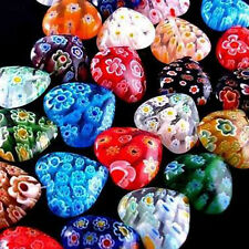 Wholesale 100pcs Shining Heart Millefiori Glass Beads 8mm/10mm Multi-Color Art