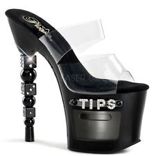 Pleaser Stacked Dice Rhinestone Heel Platform Slide Clear/Black