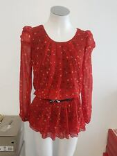 Ladies Red & Black Top/Blouse with Belt - Approx Sample Size 8-10