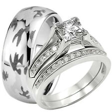 Solid 925 Sterling Silver CZ Wedding Ring Set Camouflage Army Tungsten Camo Band
