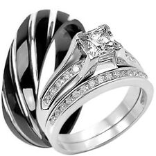 925 Sterling Silver Engagement CZ Wedding Ring Set and Black Titanium Twist Band