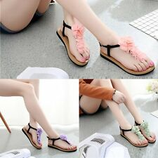 Bohemia Womens Summer Flower Slippers Flip Flops Flat Sandals Beach Thong Shoes