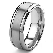 Size 3-18 Custom Engraving 8mm Mens Grooves Titanium Wedding Band Ring