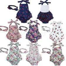 Newborn Baby Girls Floral Ruffle Romper Jumpsuit Dress Outfit Clothes+Headband