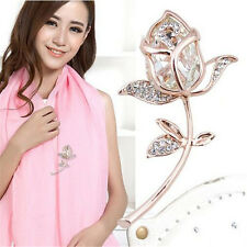 1Pcs Gift Rose Flower Crystal Alloy Brooch Rhinestone Clothing Brooches