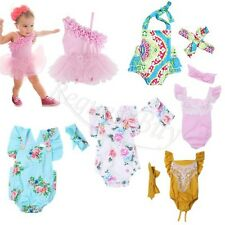 Newborn Kids Baby Girls Floral Romper Jumpsuit Bodysuit Outfit Clothes +Headband