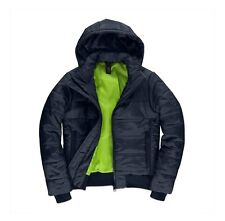 Mens Navy B&C Superhood Padded Quilted Bomber Puffa Jacket Outdoor Winter Coat