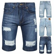 Mens Pockets Distressed Ripped Knee Length Faded Destroyed Classic Denim Shorts